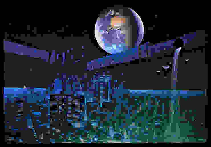 Panoramiques fluorescents sur le thème de la Ville Lumière par Atelier Frederic Gracia Moderne