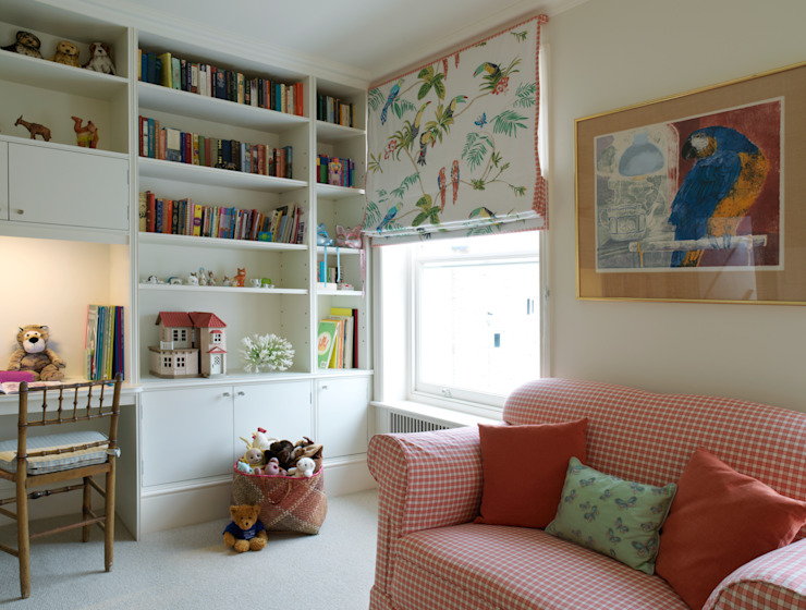 Belgravia - Section of a Childs' Bedroom with shelving unit and cupboards. Meltons Classic style bedroom
