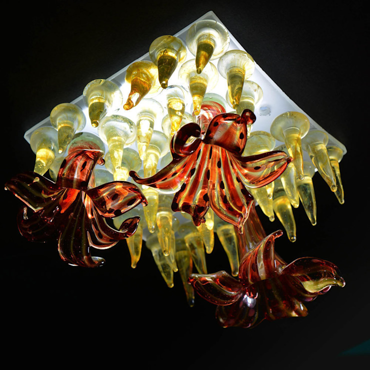 Red flower, yellow studs mini figlight downlight chandelier A Flame with Desire Eklektik