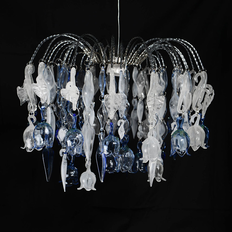 Campanula, custom waterfall style glass chandelier: eclectic  by A Flame with Desire, Eclectic