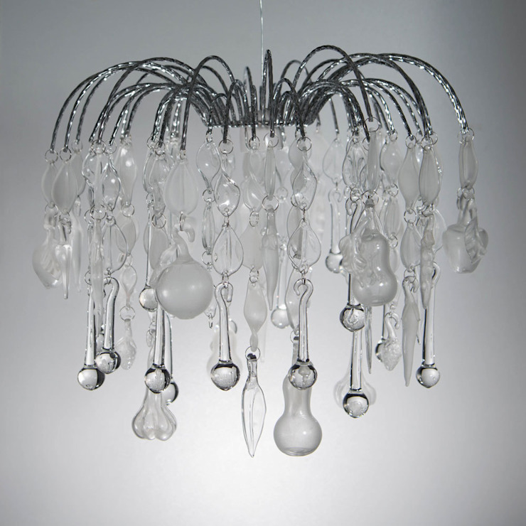 Domestic Bliss, custom waterfall style glass chandelier: eclectic  by A Flame with Desire, Eclectic