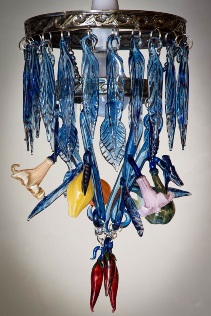 Turkish blue chandelier: eclectic  by A Flame with Desire, Eclectic