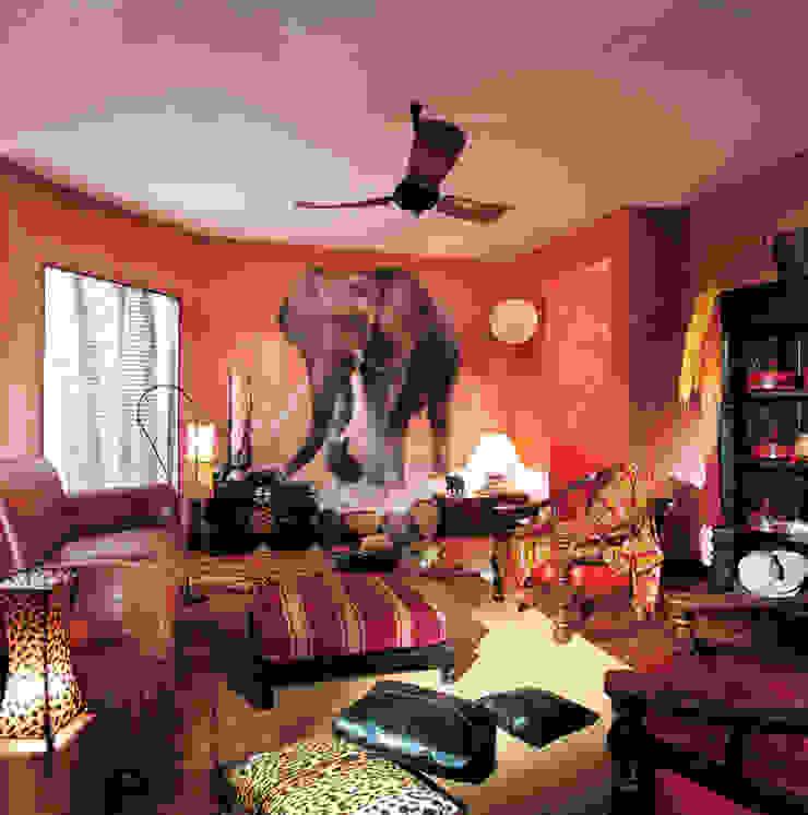 Trompe l'oeil elefante Soggiorno in stile coloniale di INTERNO78.IT - DECORAZIONI D'INTERNI Coloniale