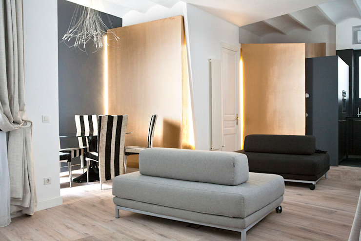 Casa Moncada Caruselli Salones de estilo moderno de jorge rangel interiors Moderno