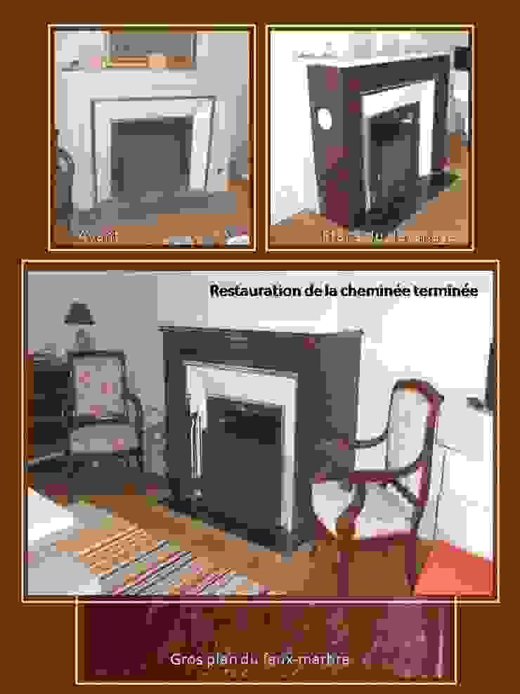 faux marbre sur cheminée par cathy saumabere Éclectique