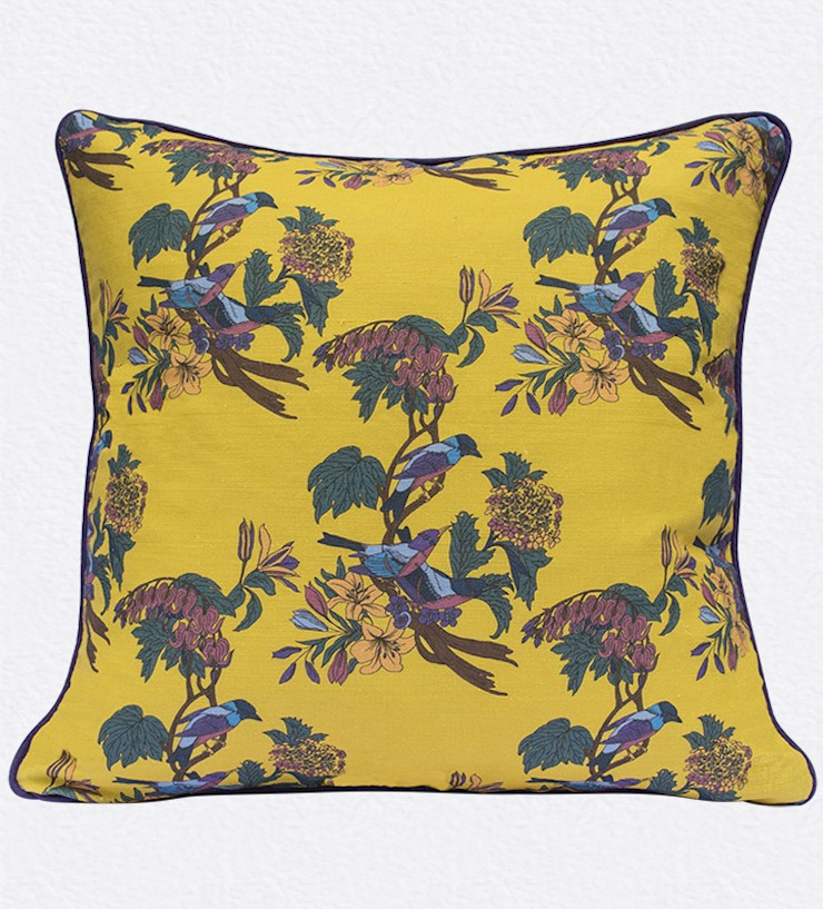 Golden Bunting Bird Cushion by Occipinti: classic  by Anthea's Home Store, Classic