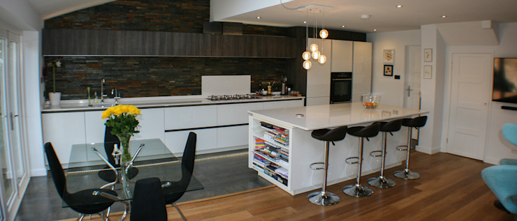 White Gloss & Latte Oak Creative Designs Kitchen