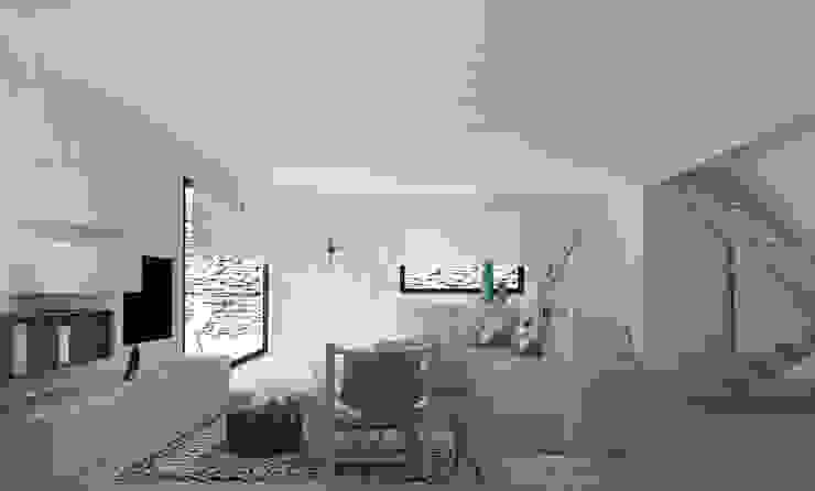 Un salón de luz blanca. de Byhome Moderno