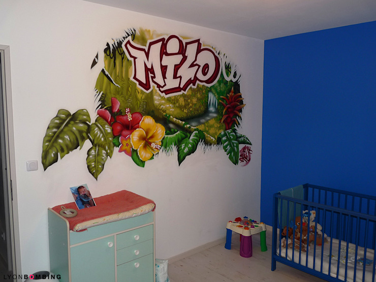Chambre jungle Chambre d'enfant moderne par Lyonbombing Moderne