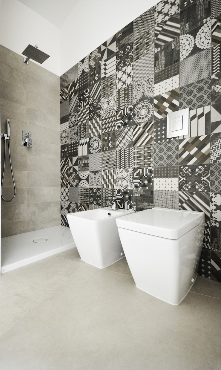 house studio: living workshop francesco valentini architetto Eclectic style bathroom