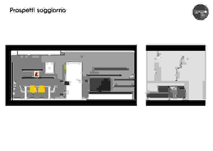 Prospetti soggiorno Soggiorno moderno di Spazio 14 10 di Stella Passerini Moderno