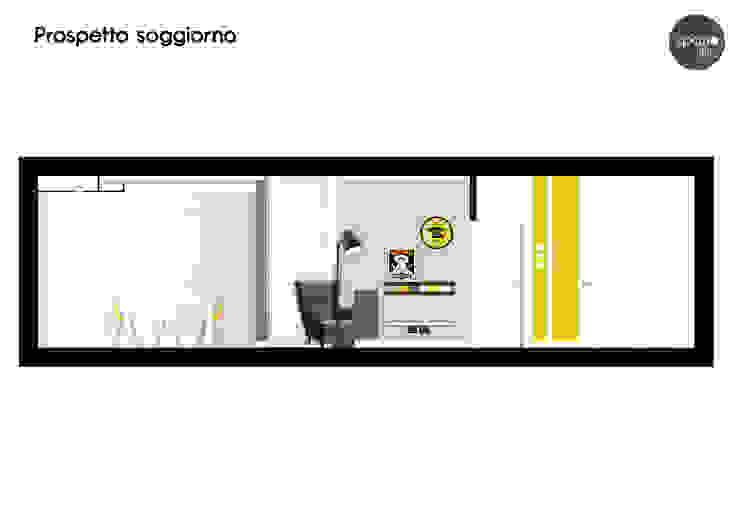 Prospetto soggiorno Soggiorno moderno di Spazio 14 10 di Stella Passerini Moderno
