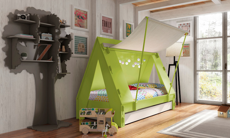 KIDS TENT BEDROOM CABIN BED in Green by Cuckooland Modern