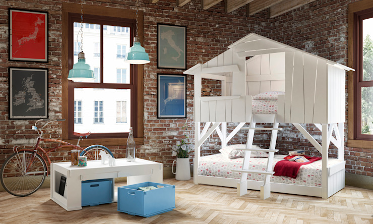 KIDS TREEHOUSE BEDROOM BUNKBED in White di Cuckooland Moderno
