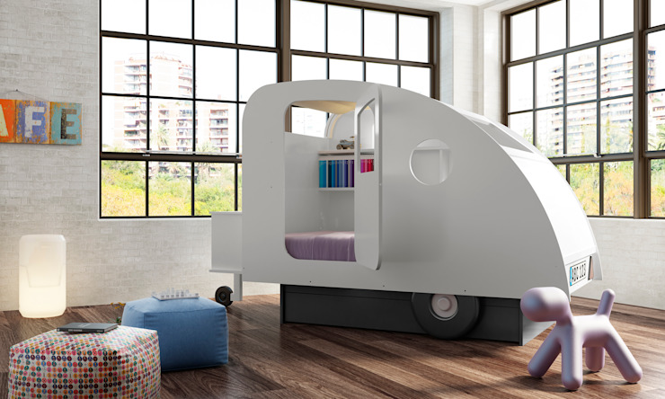 KIDS BEDROOM CARAVAN BED in White Cuckooland Habitaciones infantilesCamas y cunas