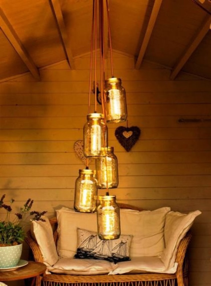 5 Jam Jar Chandelier Light Lime Lace Eclectic Interiors Living roomLighting