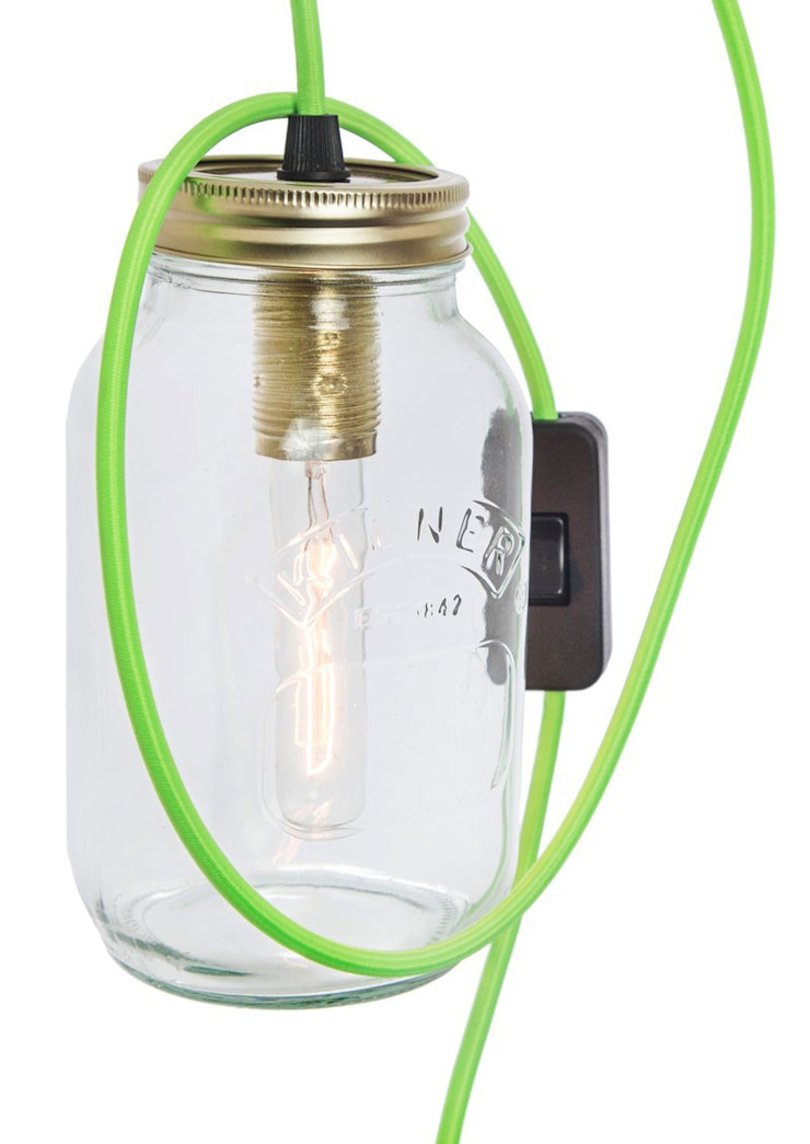 Jam Jar Lamp With Green Cord: modern  by Lime Lace Eclectic Interiors, Modern