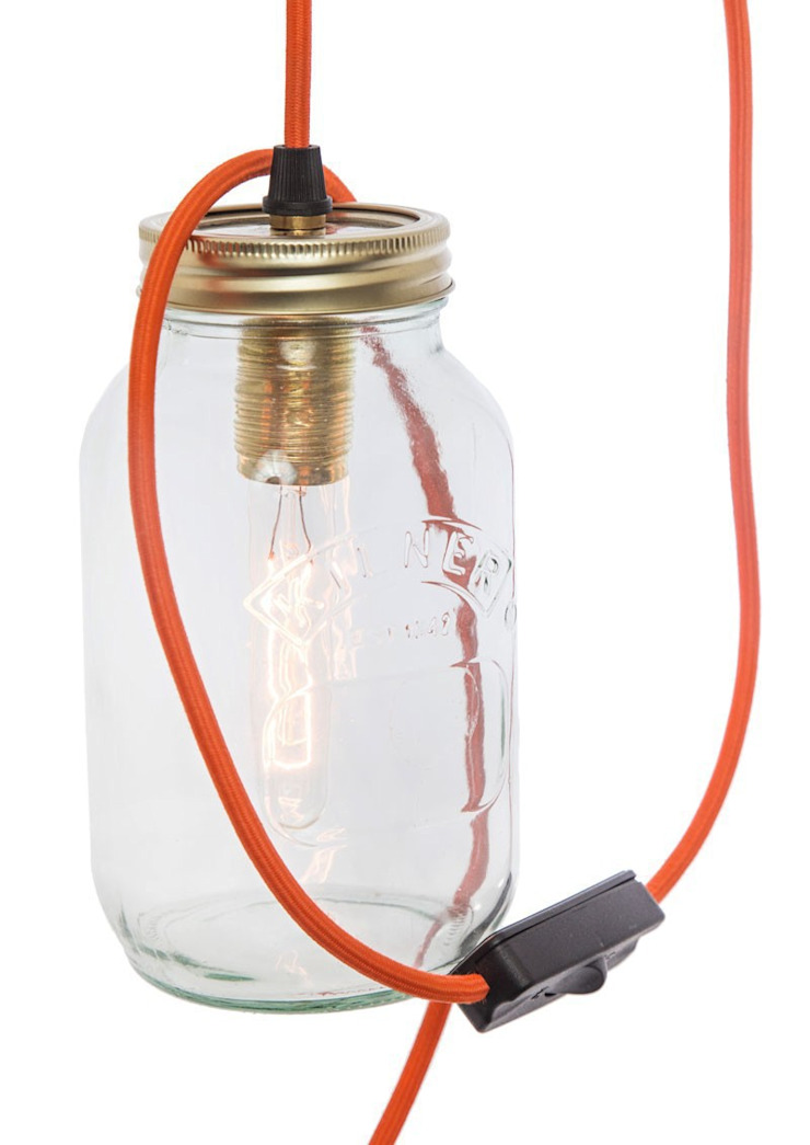 Jam Jar Lamp With Orange Cord: modern  by Lime Lace Eclectic Interiors, Modern