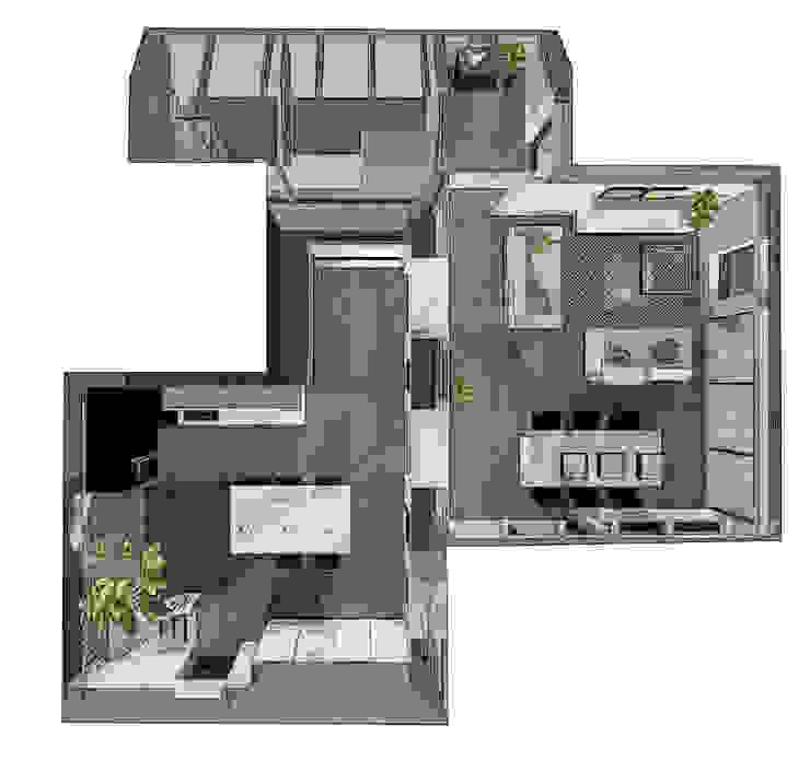 vue génrale extension + ancienne pièce à vivre Balcon, Veranda & Terrasse modernes par agence concept decoration Moderne