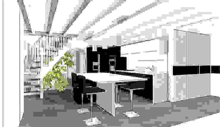 création cuisine contemporaine noir et blanc Balcon, Veranda & Terrasse modernes par agence concept decoration Moderne