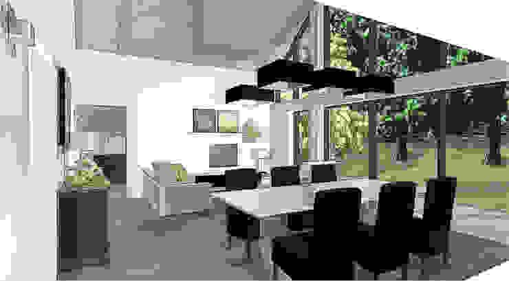 sallé à manger et salon dans extension Balcon, Veranda & Terrasse modernes par agence concept decoration Moderne