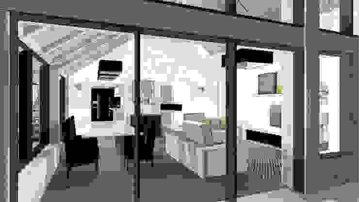 vue extérieure du séjour dans création extension Balcon, Veranda & Terrasse modernes par agence concept decoration Moderne