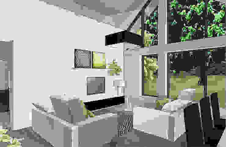 création extension vue salon Balcon, Veranda & Terrasse modernes par agence concept decoration Moderne