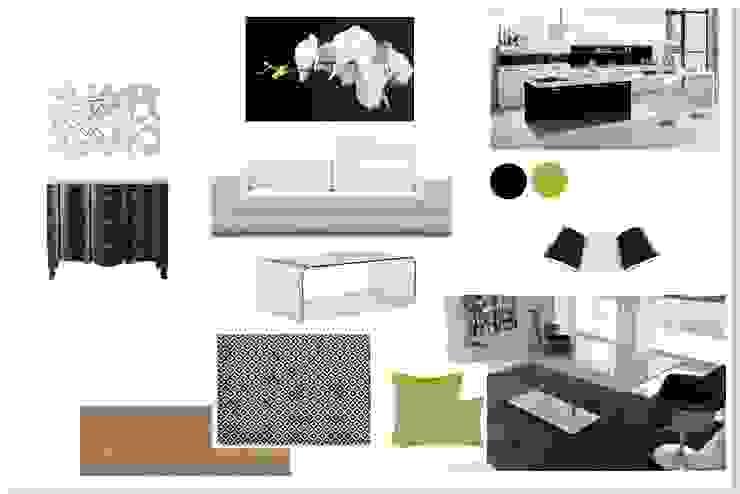ambiance mélange de style en noir et blanc Balcon, Veranda & Terrasse modernes par agence concept decoration Moderne