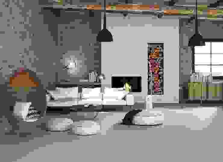 Salón contemporáneo con pavimento de inspiración cemento. de Porcelanite Dos Moderno
