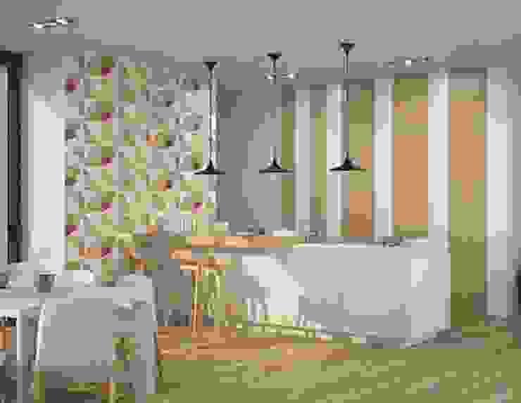Cocina moderna con revestimiento en formato vertical de Porcelanite Dos Moderno