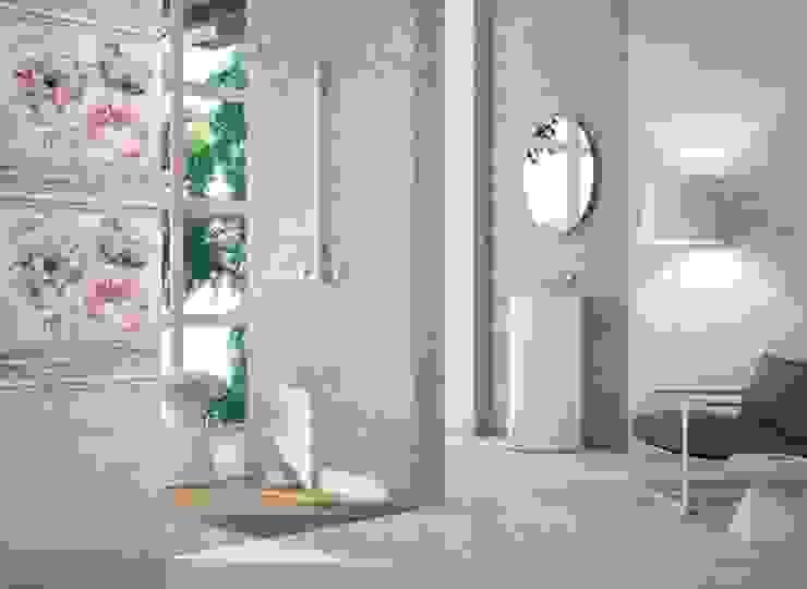 Baño contemporáneo con revestimiento de motivos florales de Porcelanite Dos Moderno