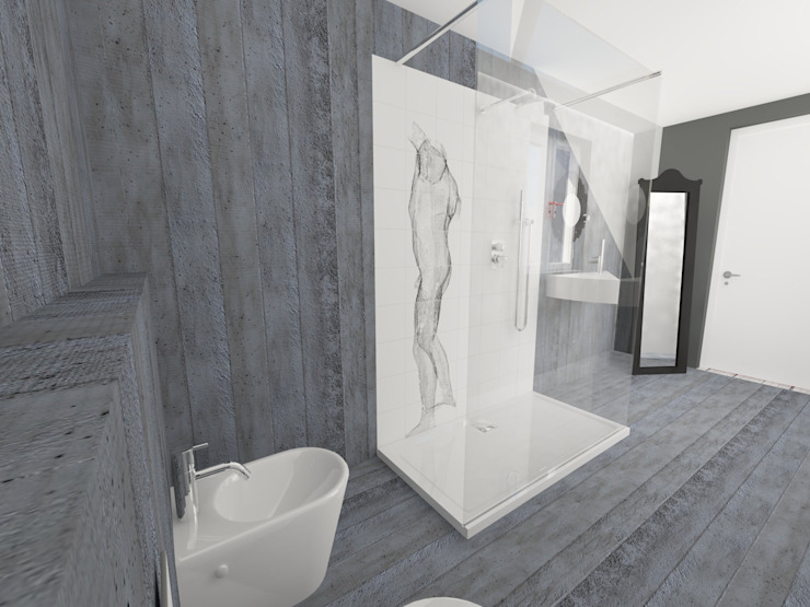 progettazione virtuale bagno Bagno eclettico di Inarte Progetti di Lucio Mana Eclettico
