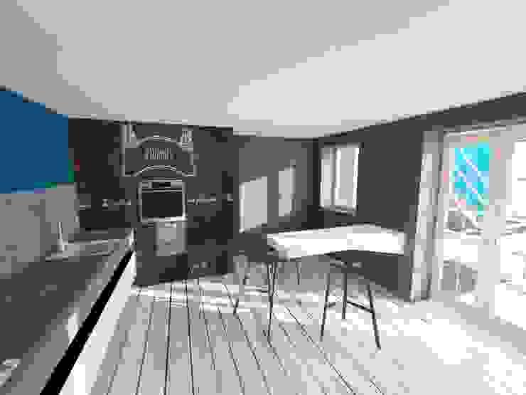 3d progetto cucina Cucina eclettica di Inarte Progetti di Lucio Mana Eclettico