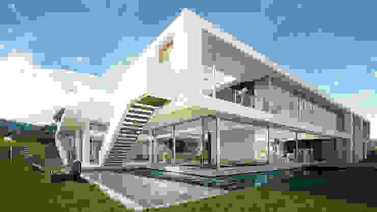 Architectural visualization of a luxury house in Palos Verdes 現代房屋設計點子、靈感 & 圖片 根據 Berga&Gonzalez - arquitectura y render 現代風