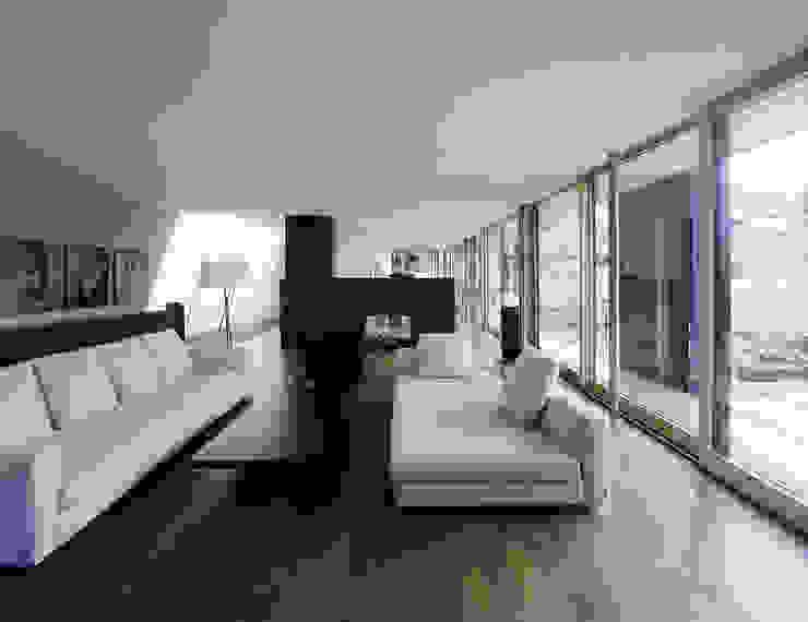 Salas modernas de Dietrich | Untertrifaller Architekten ZT GmbH Moderno