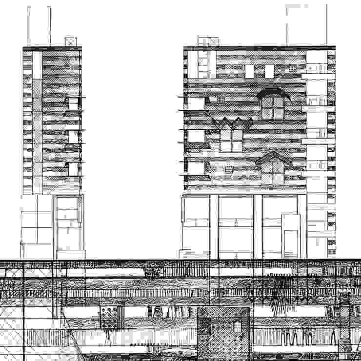 地層の表情: ユミラ建築設計室が手掛けた現代のです。,モダン