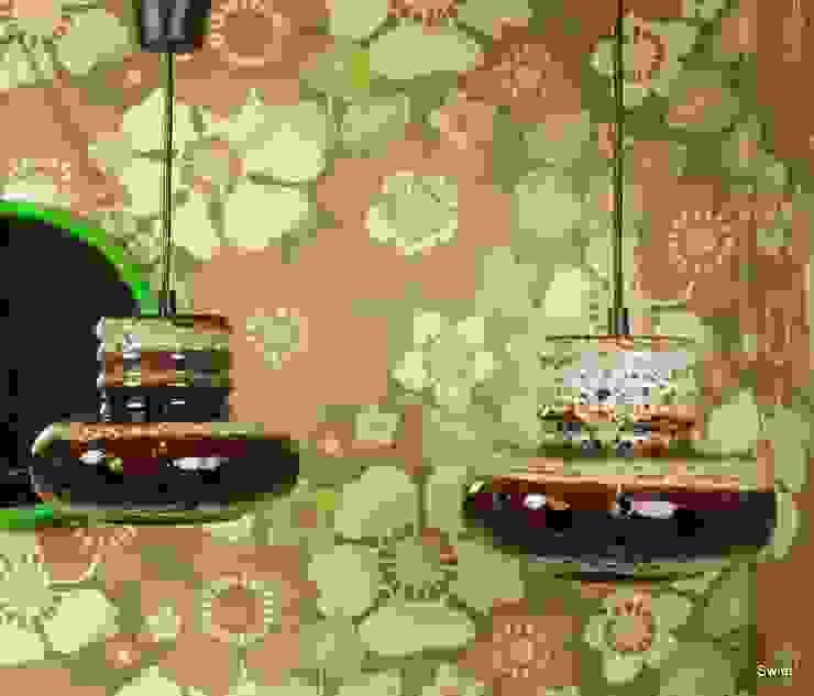 Originele retro keramiek hanglampen uit de jaren 70:  Eetkamer door Swiet,