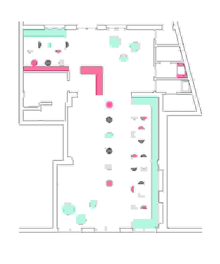 Plano de distribución del local. de Estudio de Arquitectura Sra.Farnsworth Ecléctico