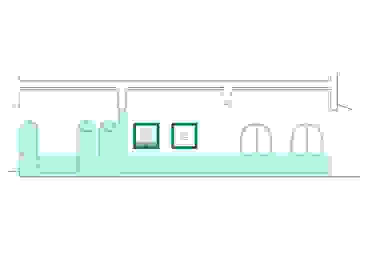 Sección del local de Estudio de Arquitectura Sra.Farnsworth Ecléctico