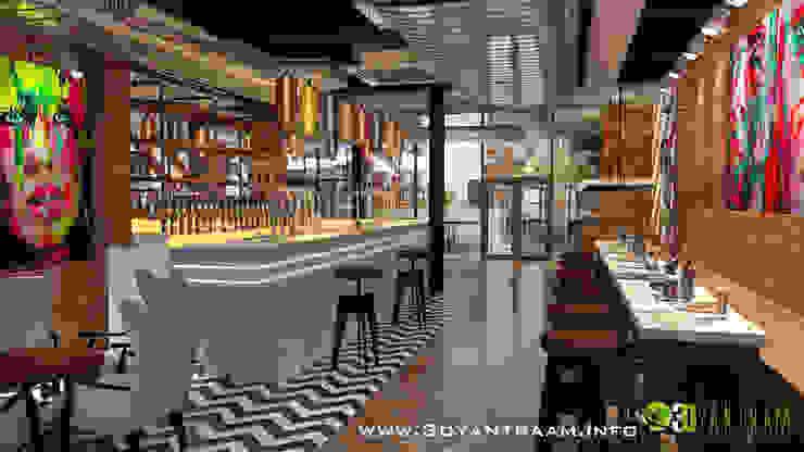 Commercial 3D Interior Rendering Bar: modern  by Yantram Architectural Design Studio, Modern