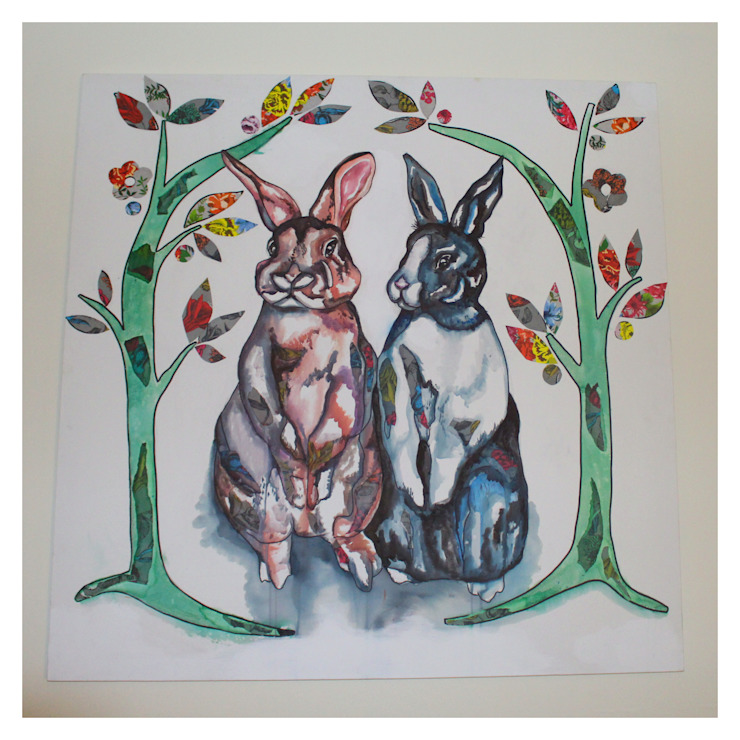 Painted canvas based on a photograph of the client's pet rabbits. Crow's Nest Interiors ArtworkPictures & paintings