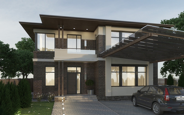 Главный фасад дома с навесом для машин Дома в эклектичном стиле от studio forma Эклектичный
