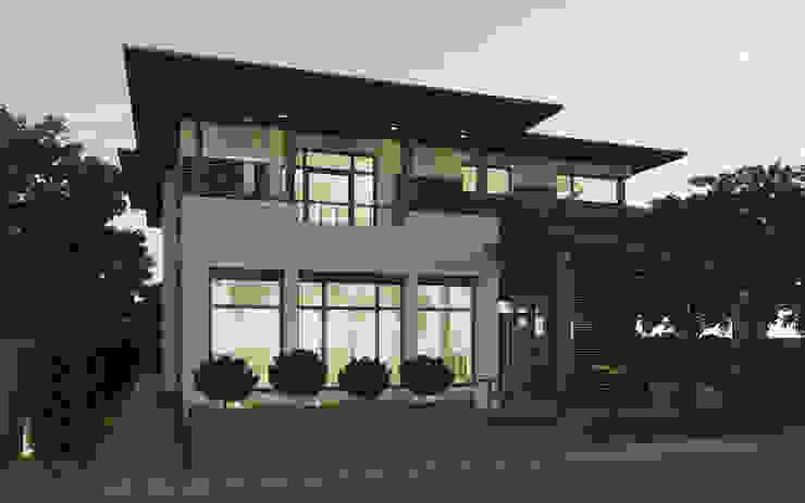 Задний фасад дома с террасой Дома в эклектичном стиле от studio forma Эклектичный