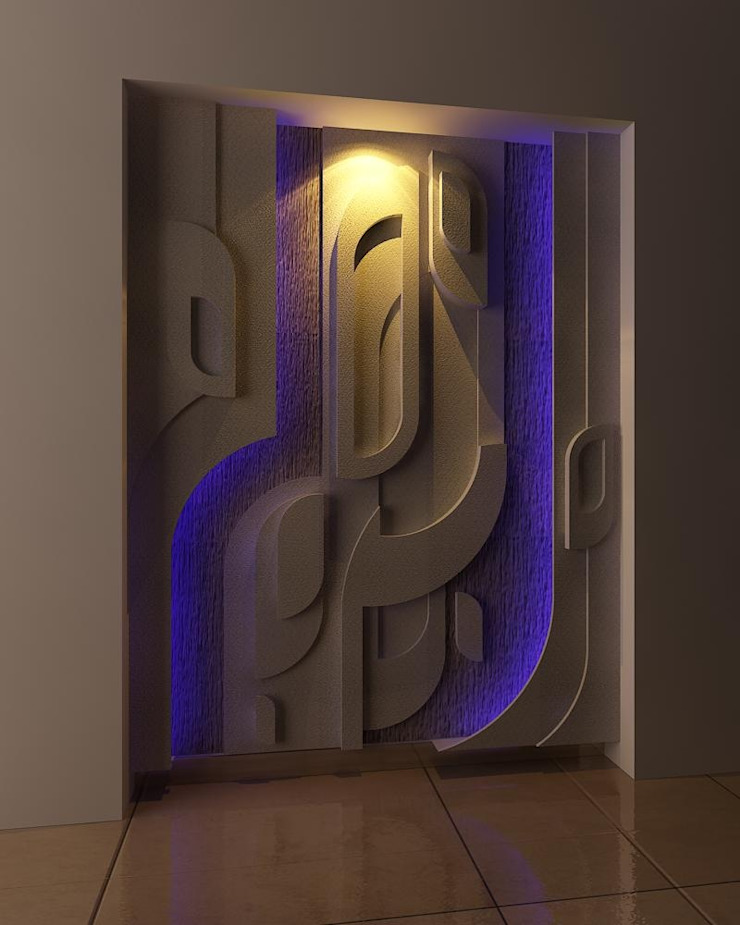 WALL RELIEF ON A.A.C BRICKS Eclectic style walls & floors by Drashtikon designer consultant (kamal maniya) Eclectic