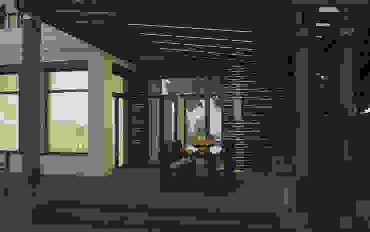 Крытая часть террасы с летней обеденной зоной Балконы и веранды в эклектичном стиле от studio forma Эклектичный