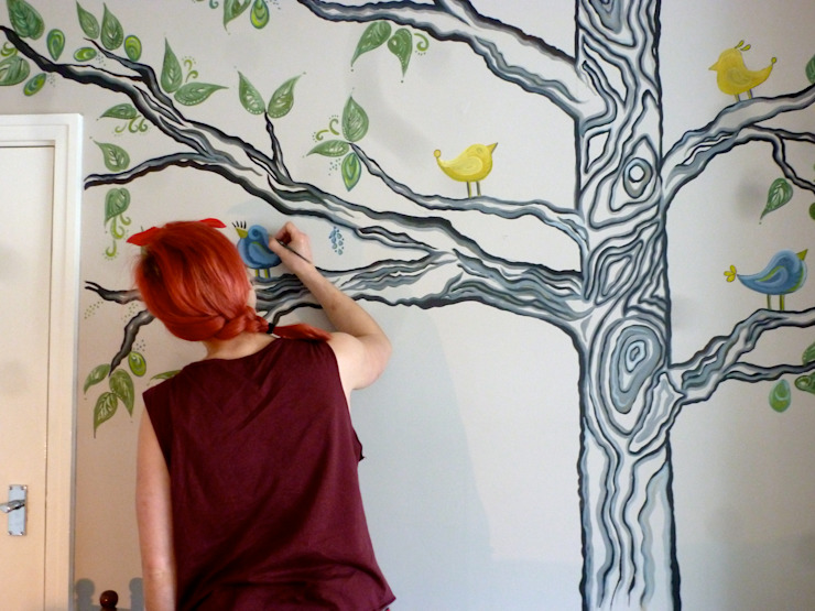 Wall mural painting. من Crow's Nest Interiors إسكندينافي