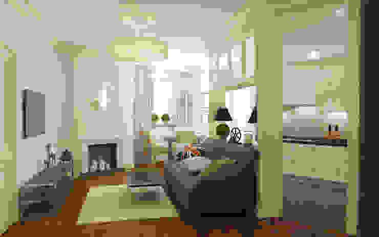 Гостиная и кухня Гостиные в эклектичном стиле от studio forma Эклектичный