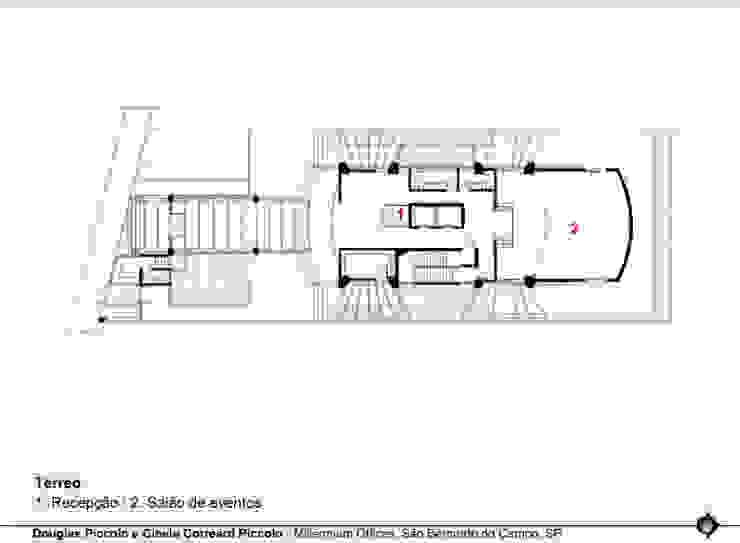 PLANTA DO TÉRREO Edifícios comerciais modernos por Douglas Piccolo Arquitetura e Planejamento Visual LTDA. Moderno