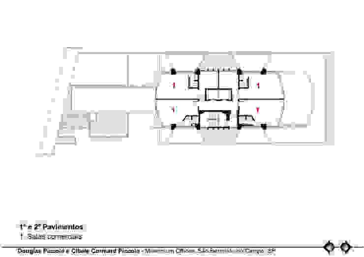 PLANTA 1º E 2º PAVIMENTOS Edifícios comerciais modernos por Douglas Piccolo Arquitetura e Planejamento Visual LTDA. Moderno