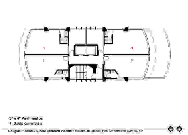 PLANTA 3º E 4º PAVIMENTOS Edifícios comerciais modernos por Douglas Piccolo Arquitetura e Planejamento Visual LTDA. Moderno